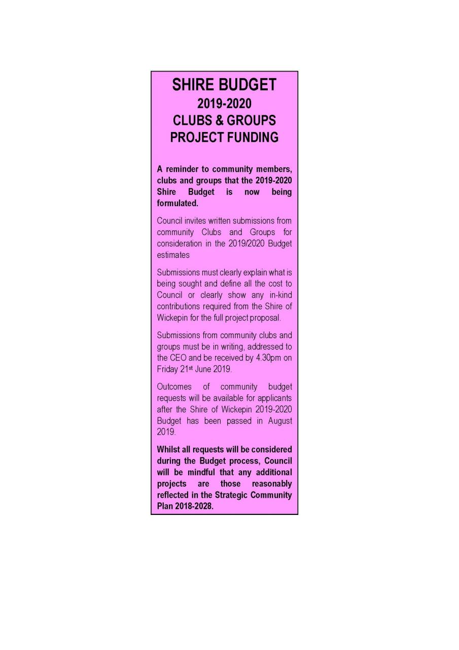 SHIRE BUDGET 2019-2020 CLUBS & GROUPS PROJECT FUNDING